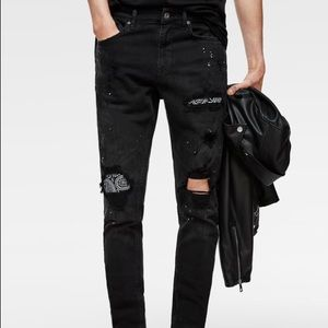Zara skinny jeans with bandana patches